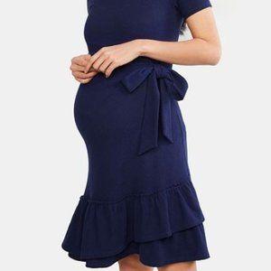 A Pea in the Pod Maternity Dress Navy Ruffle Small